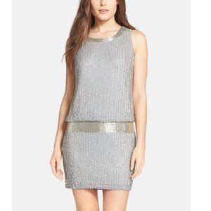 ADRIANNA PAPELL Drop Waist Beaded Silk Tank Dress
